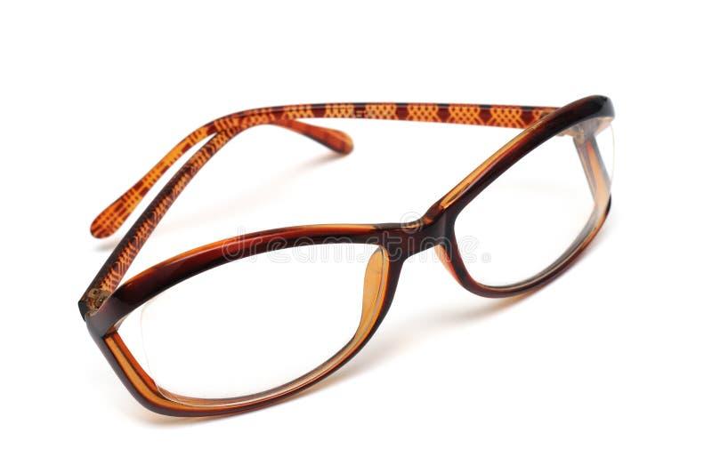 褐色被构筑的装饰眼镜 免版税图库摄影