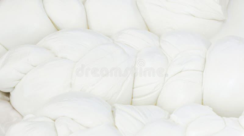 褶皱藻属雷希奥的Mozzarella di Bufala典型的乳制品 库存图片