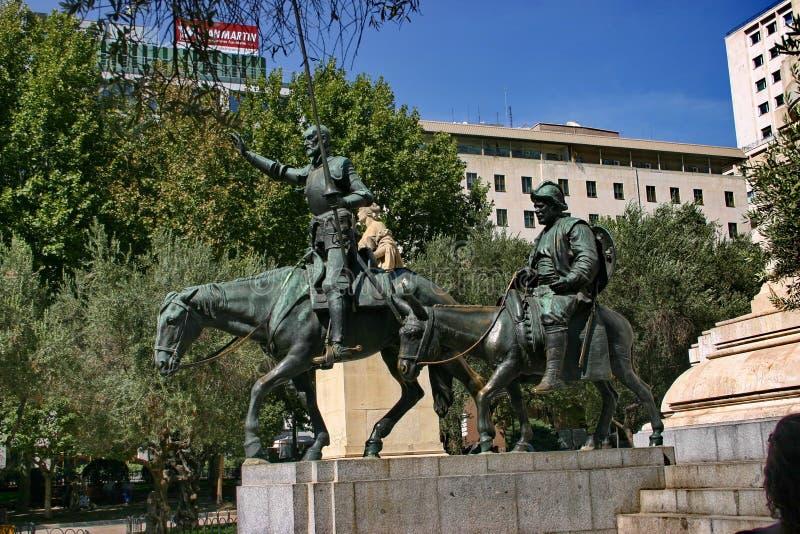 西万提斯・ de米格尔纪念碑 库存照片