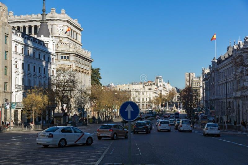 西万提斯学院大厦Alcala街道的在市马德里,西班牙 库存图片