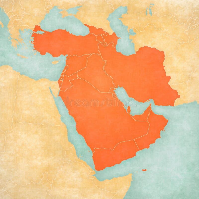 西亚地图-所有国家 皇族释放例证