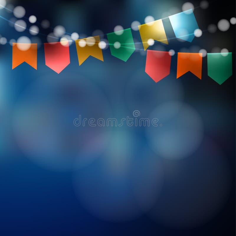 巴西人6月党 Festa Junina 光,党旗子串  在当事人丝绸二白色的香槟装饰装饰空的玻璃 欢乐夜,被弄脏的背景 向量例证
