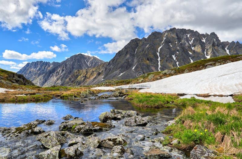 西伯利亚山风景 用青苔和地衣盖的石头在水 库存照片
