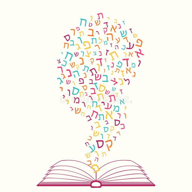 西伯来语字母表,犹太ABC样式所有信件  打开书,知识概念 皇族释放例证