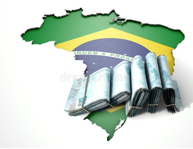 巴西地图和被折叠的笔记 库存照片