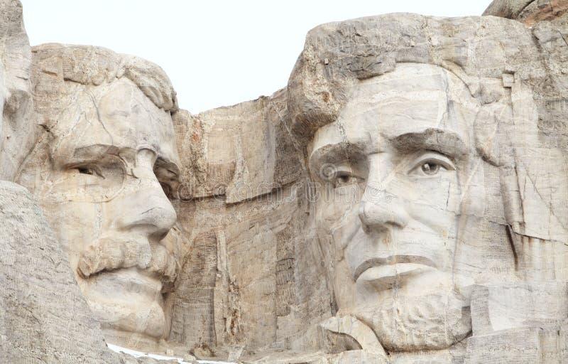 西奥多・罗斯福和亚伯拉罕・林肯拉什莫尔山的 免版税库存照片