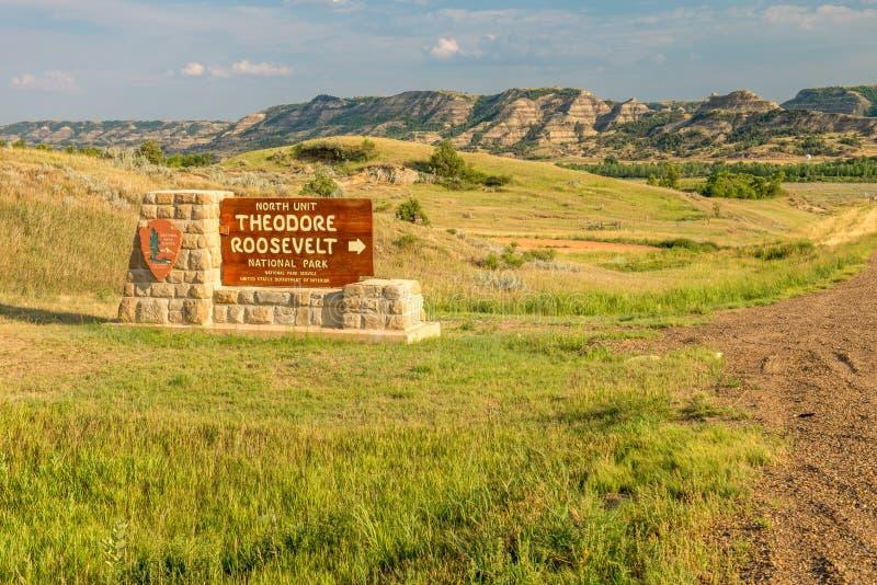 西奥多・罗斯福国家公园标志 库存照片