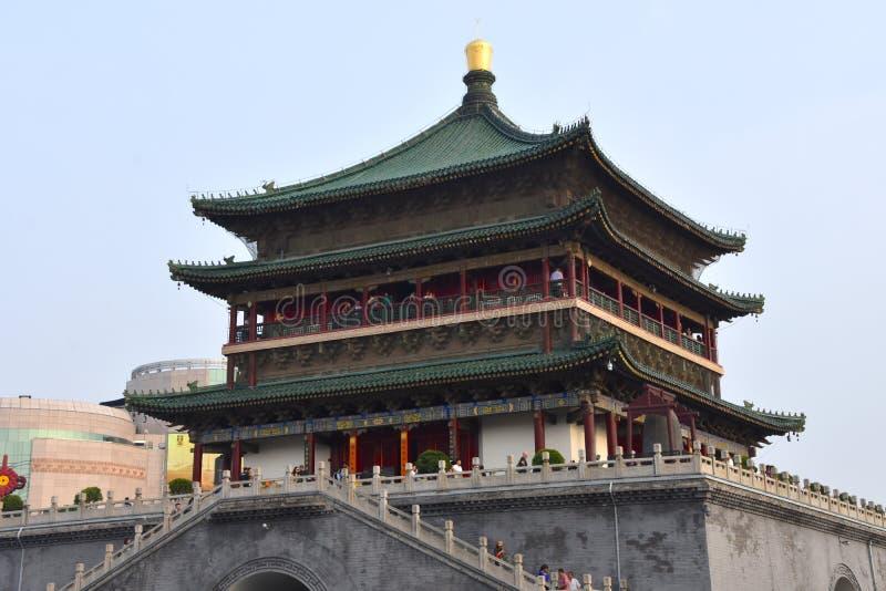 西安,中国钟楼的看法  免版税库存图片