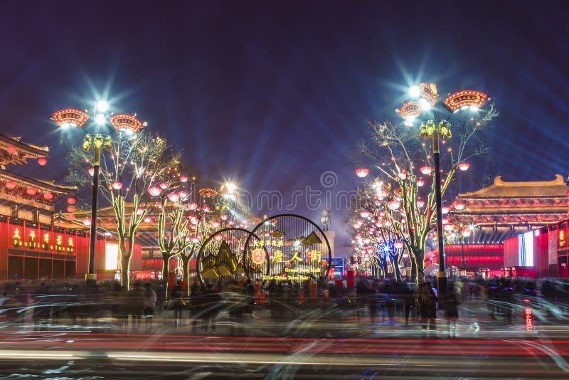 西安,中国- 2019年2月13日 在旅游景点的人群为庆祝中国春节 库存图片
