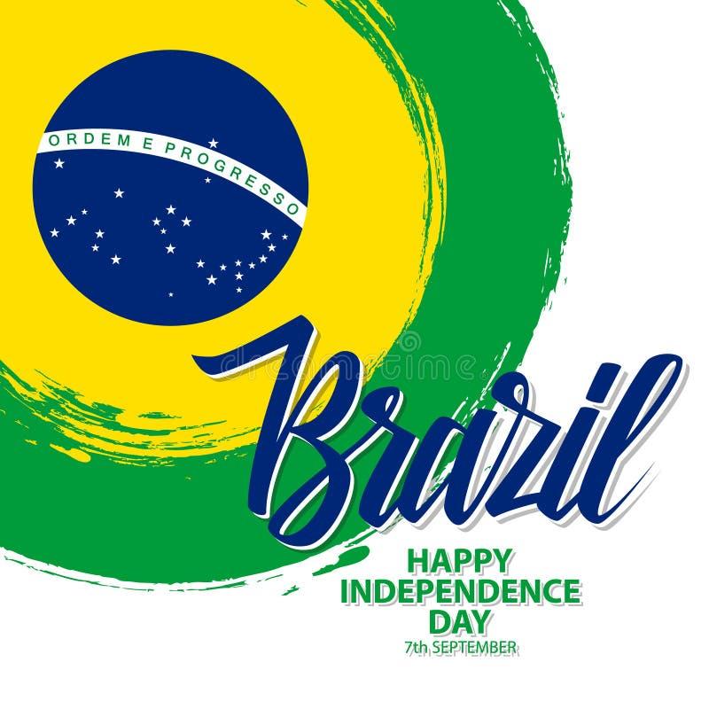 巴西愉快的美国独立日庆祝与巴西国旗刷子冲程背景和手字法的卡片 向量例证