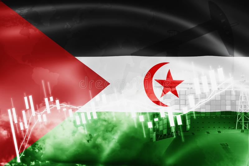 西撒哈拉旗子、股票市场、交换经济和贸易,石油生产,在出口和进口业的集装箱船和 库存图片