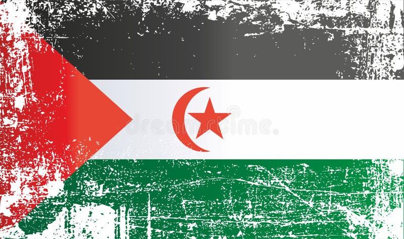 西撒哈拉,撒拉威阿拉伯民主共和国的旗子 起皱纹的肮脏的斑点 库存例证