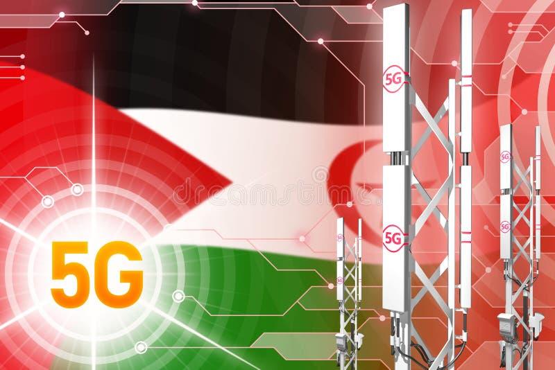 西撒哈拉5G工业例证、巨大的多孔的网络帆柱或者塔在数字背景与旗子- 3D 库存例证