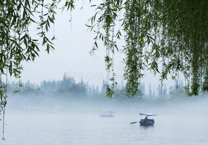 西方小船的湖 免版税库存照片