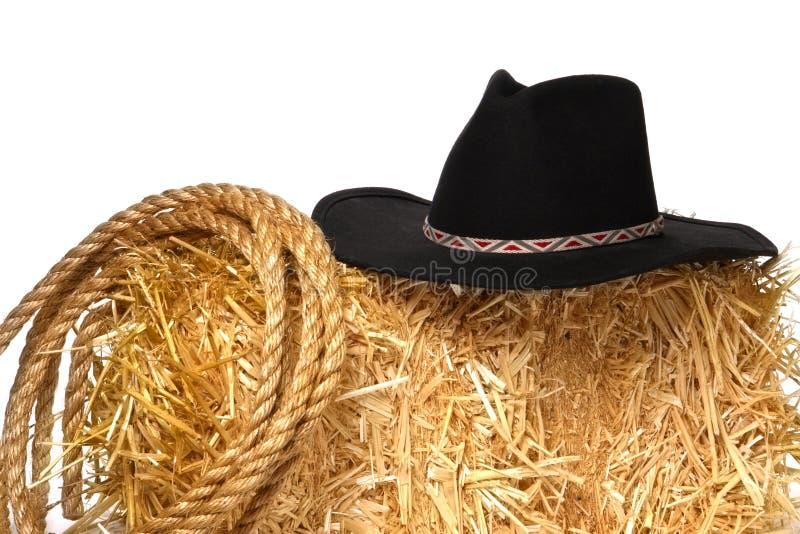 西方美国牛仔帽经营牧场圈地的绳索 库存照片