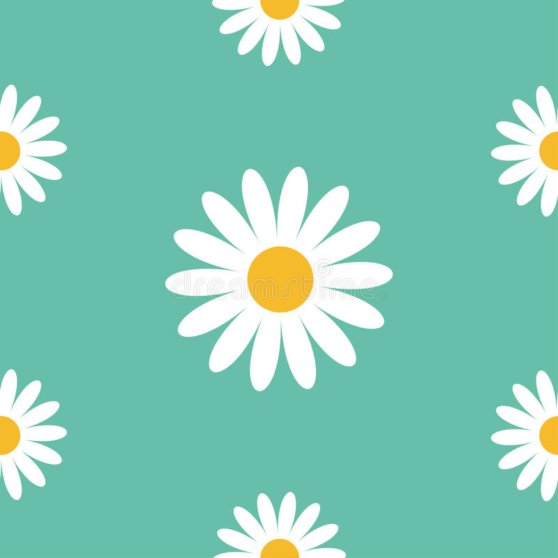 戴西春黄菊 逗人喜爱的花植物收藏 春黄菊象生长概念 无缝的样式包装纸,纺织品templ 库存例证