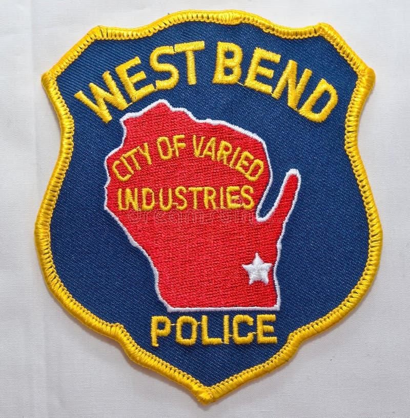 西本德警察局的肩章在威斯康辛 库存照片