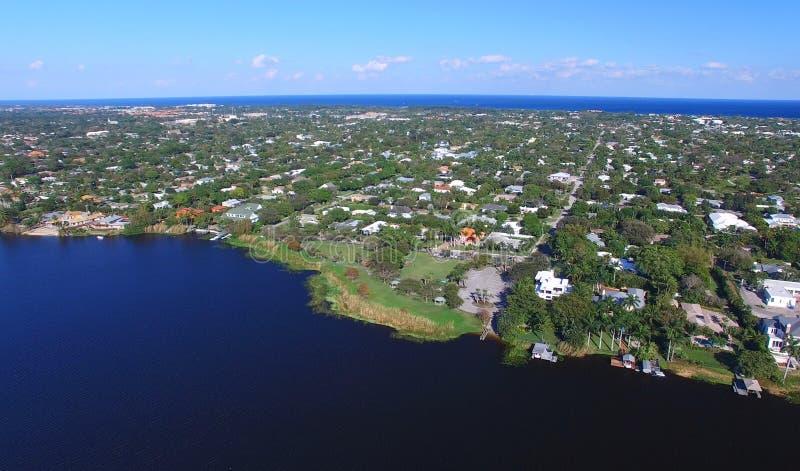 西棕榈海滩,佛罗里达鸟瞰图  免版税库存照片