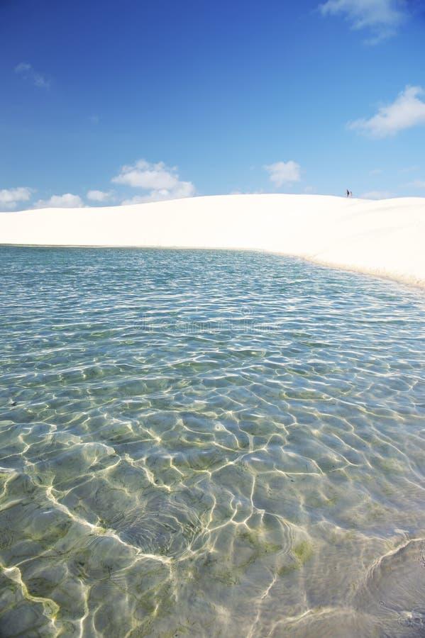 巴西沙丘和淡水水池在Lencois Maranheses 免版税库存照片