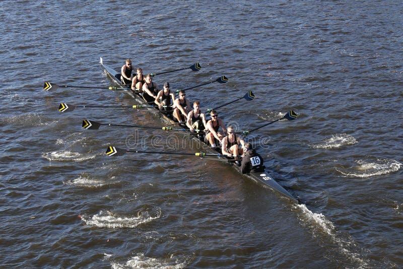 西点军校军校在查尔斯赛船会人的学院Eights的负责人赛跑 库存照片