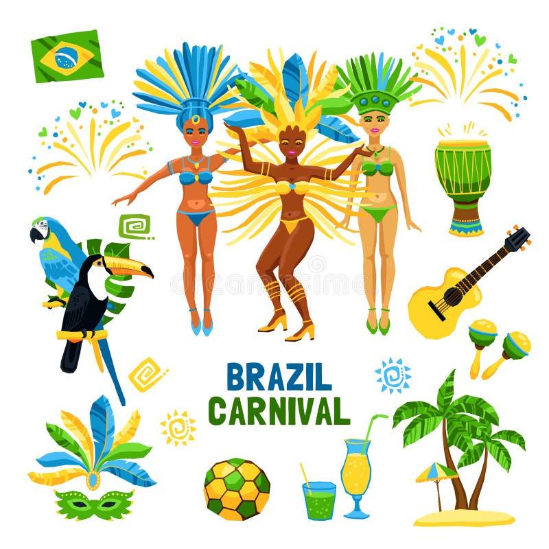 巴西狂欢节象集合 库存例证