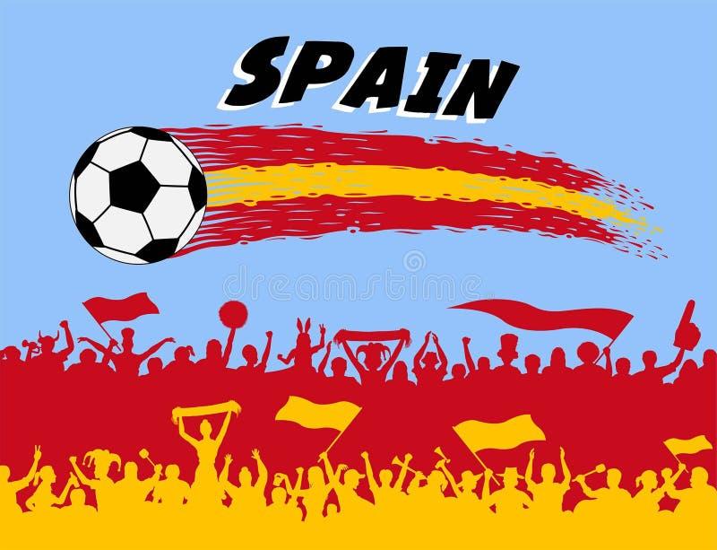 西班牙与足球和西班牙支持者silhou的旗子颜色 皇族释放例证