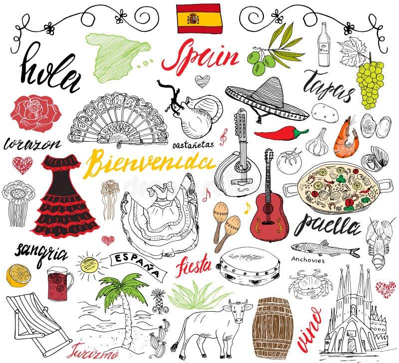 西班牙乱画元素 与西班牙食物肉菜饭,虾,橄榄,葡萄,爱好者,酒barel,吉他,音乐instrumen的手拉的集合 库存例证