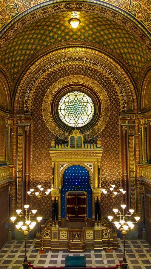 西班牙会堂在布拉格是其中一间最美丽的犹太教堂在欧洲 免版税库存照片