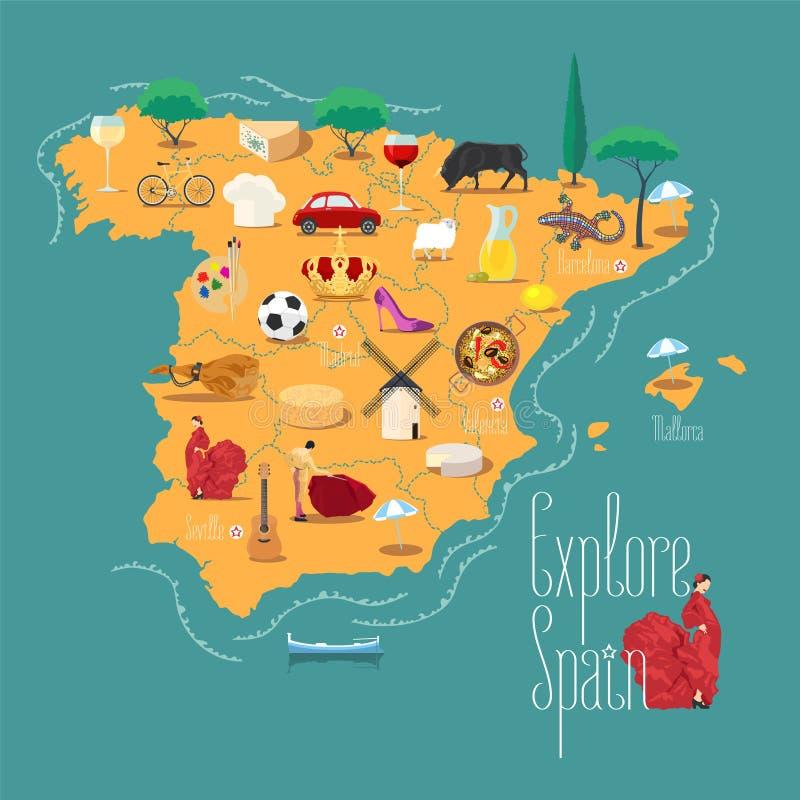 西班牙传染媒介例证,设计元素地图  库存例证