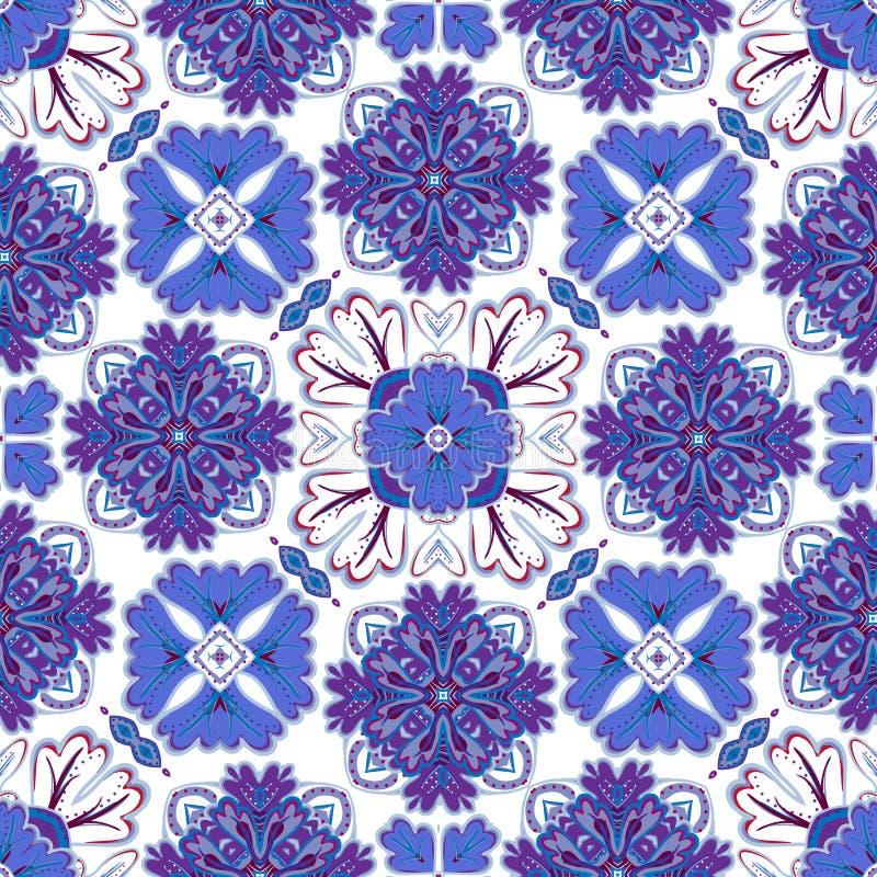 西班牙传统装饰品,地中海无缝的样式,瓦片设计,传染媒介例证 向量例证
