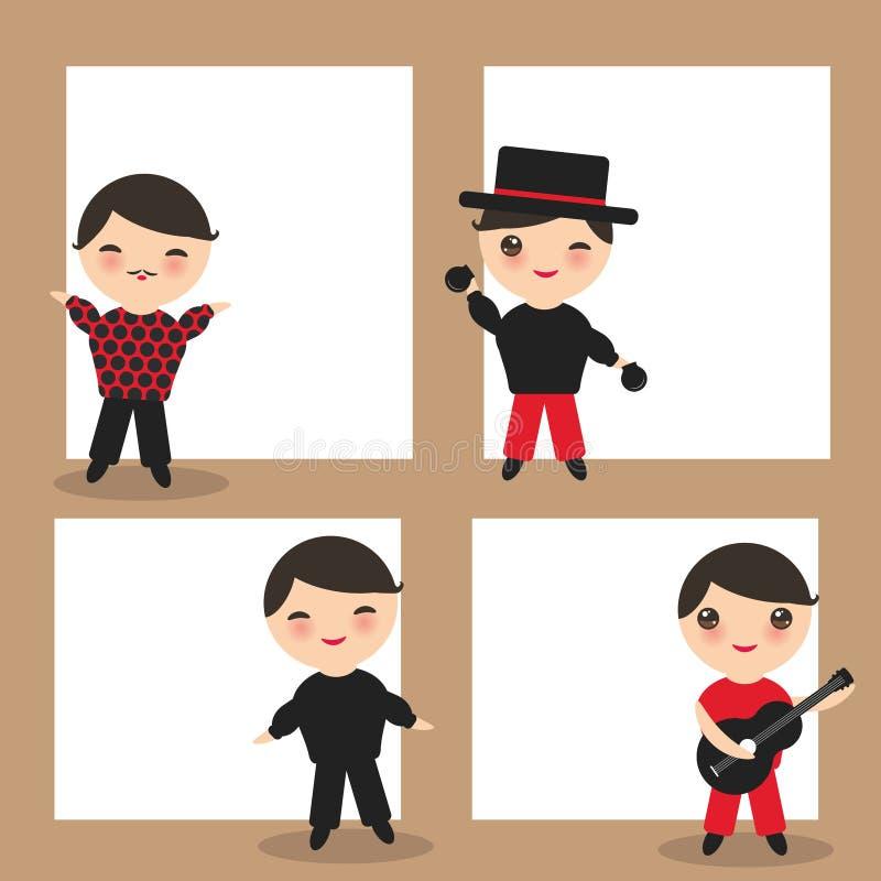 西班牙佛拉明柯舞曲舞蹈家卡片设计,横幅模板 与闪光眼睛的桃红色面颊的Kawaii逗人喜爱的面孔 吉普赛男孩,吉他,响板 库存例证