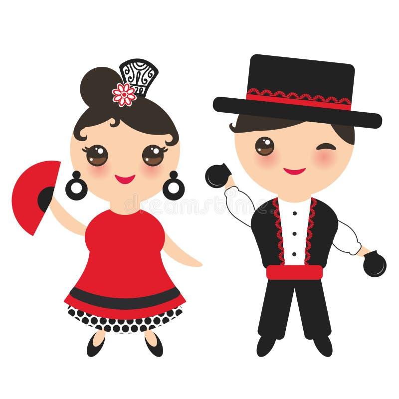 西班牙佛拉明柯舞曲舞蹈演员 与桃红色面颊和闪光的Kawaii逗人喜爱的面孔注视 吉普赛女孩和男孩,红色黑白色礼服,圆点 库存例证