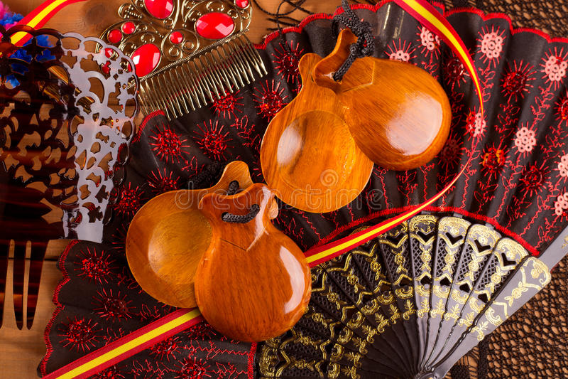 西班牙典型从有响板佛拉明柯舞曲元素的西班牙 免版税库存照片