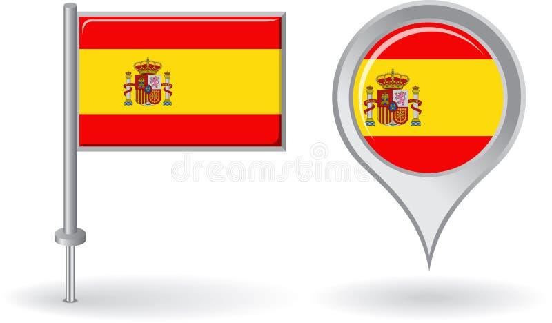 西班牙别针象和地图尖旗子 向量 皇族释放例证