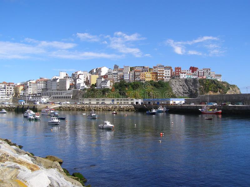 西班牙加利西亚马尔皮卡科斯塔Da Morte渔港 库存照片