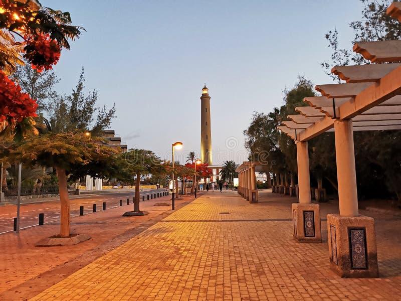西班牙加那利岛法鲁马斯帕洛马斯灯塔 免版税图库摄影