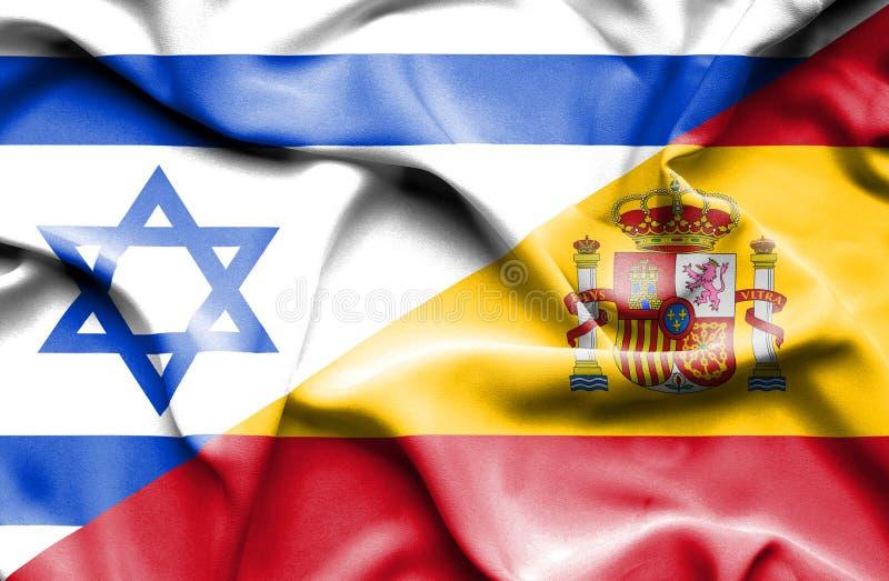 西班牙和以色列的挥动的旗子 向量例证