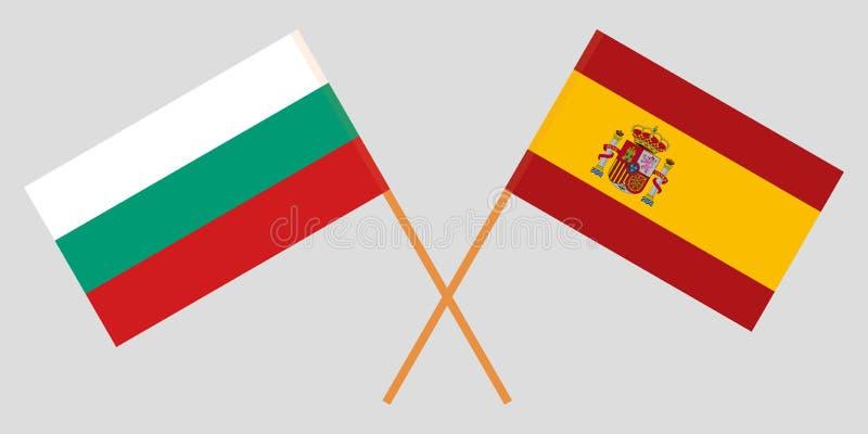 西班牙和保加利亚 西班牙和保加利亚旗子 正式比例 正确颜色 向量 库存例证