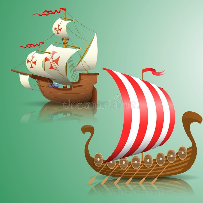 西班牙和北欧海盗Drakar帆船  向量例证