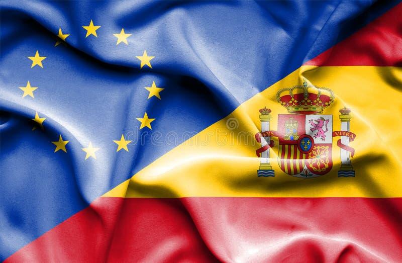 西班牙和欧盟挥动的旗子  图库摄影