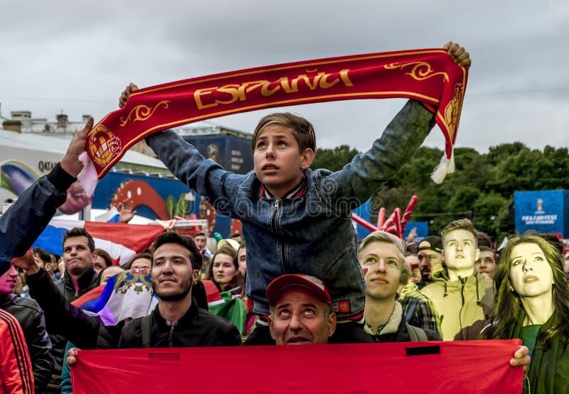 西班牙国家队和观众的足球迷的 免版税图库摄影