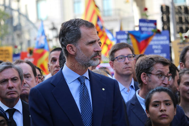 西班牙国王费莉佩VI在反对恐怖主义的抗议 免版税库存图片