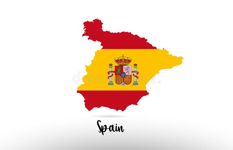 西班牙在地图等高设计象商标里面的国旗 皇族释放例证