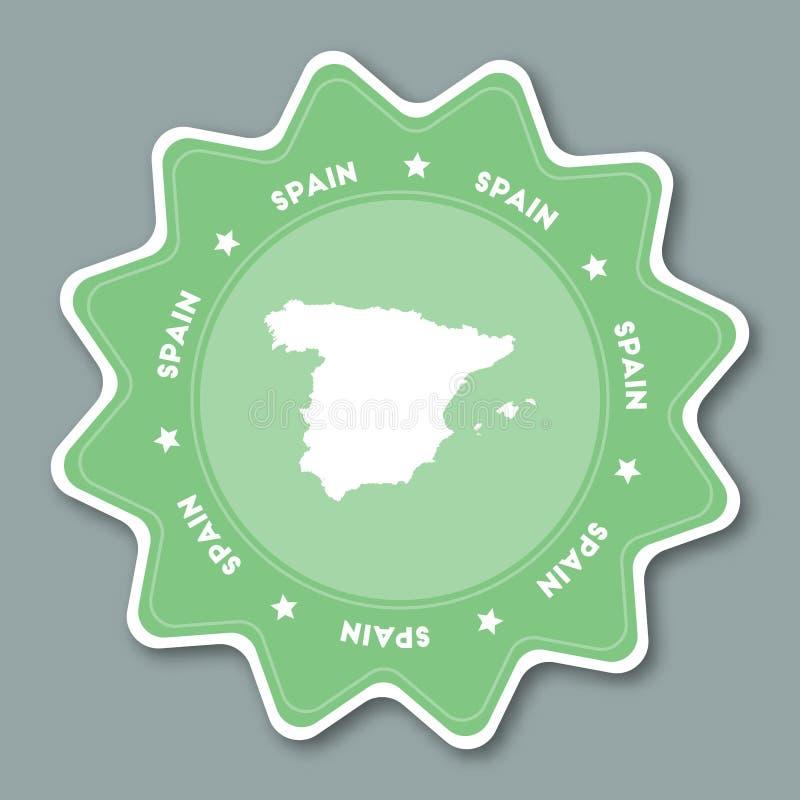 西班牙在时髦颜色的地图贴纸王国  皇族释放例证