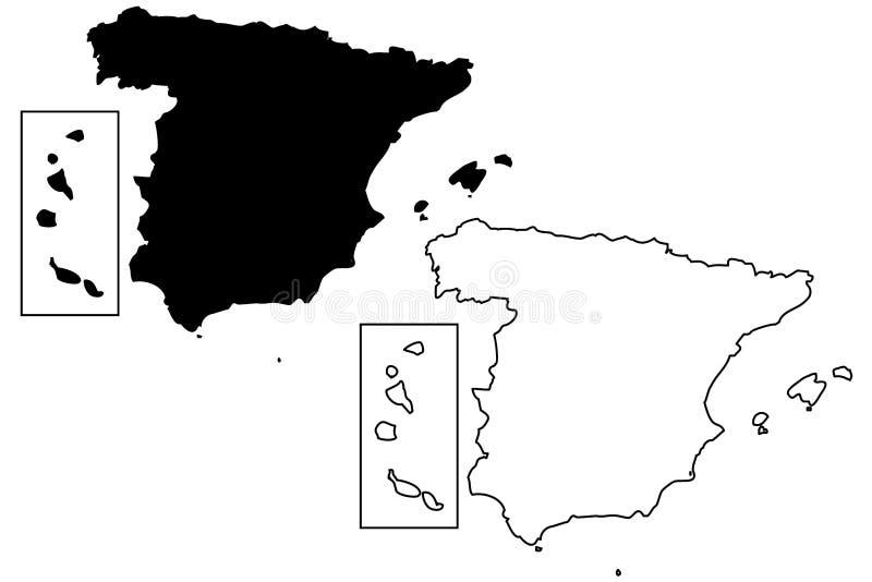 西班牙地图传染媒介 库存例证
