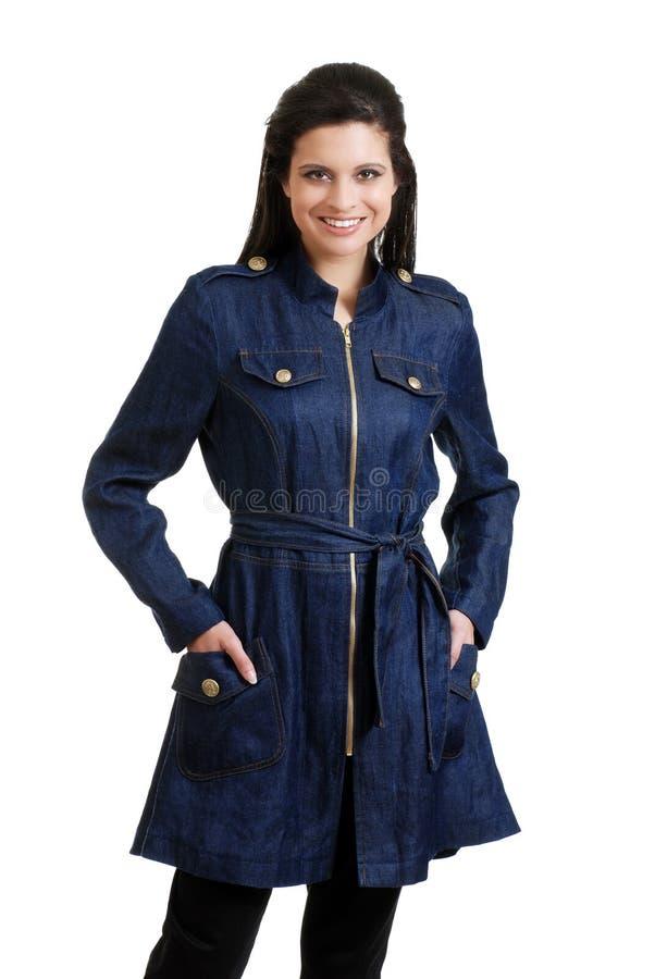 西班牙夹克斜纹布佩带的妇女 免版税库存图片