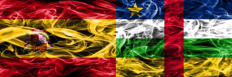 西班牙对中非共和国烟由sid下垂被安置的边 库存图片