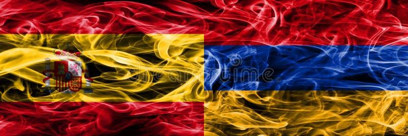 西班牙对亚美尼亚肩并肩被安置的烟旗子 浓厚上色 免版税库存照片