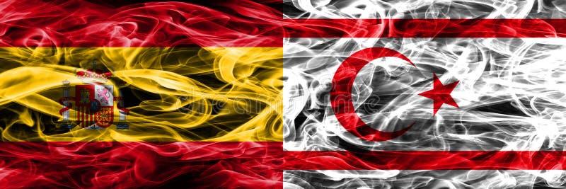 西班牙对北赛普勒斯土耳其共和国肩并肩被安置的烟旗子 浓厚 图库摄影