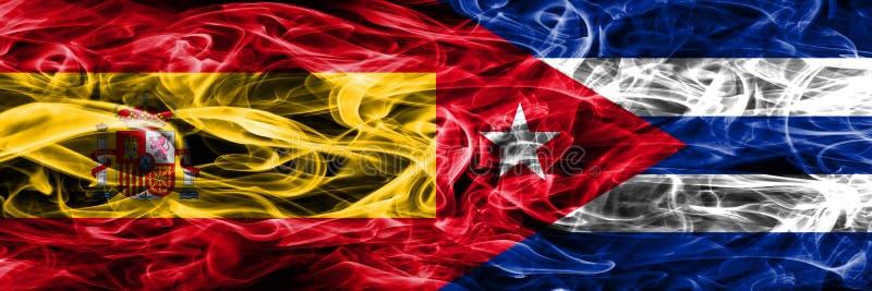 西班牙对古巴肩并肩被安置的烟旗子 厚实的色的sil 库存例证